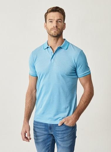 Altınyıldız Classics Altınyıldız Classic Erkek Mavi Polo Yaka T-Shirt Mavi
